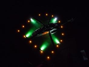 das komplett beleuchtete Hubschrauberdeck